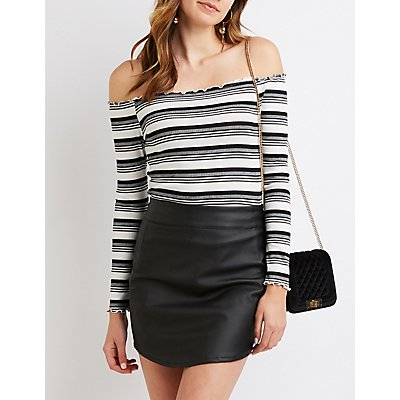 Striped Lettuce-Trim Off-The-Shoulder Top