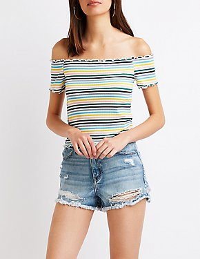 Striped Lettuce Trim Off The Shoulder Top