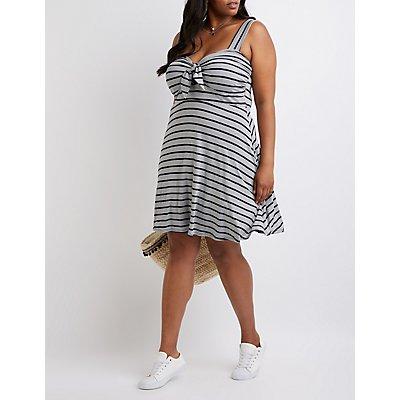 Plus Size Striped Skater Dress