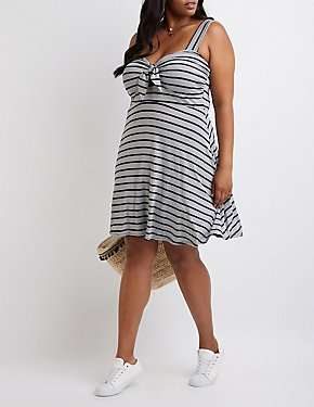 Plus Size Striped Skater Dress