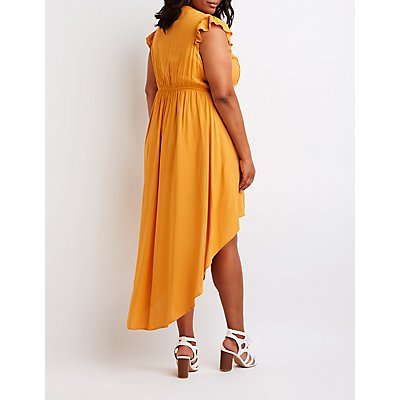 Plus Size Button Up High Low Dress