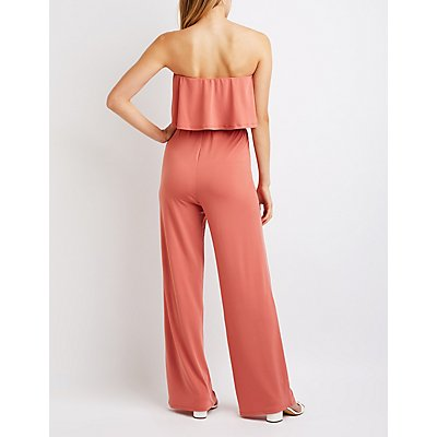 Ruffle Trim Wide Leg Jumpsuit