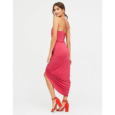 Asymmetrical Wrap Maxi Dress