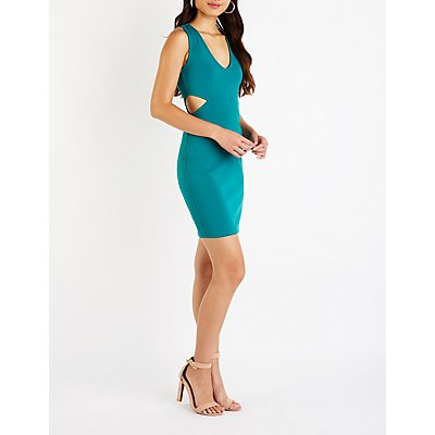 V Neck Cut Out Bodycon Dress