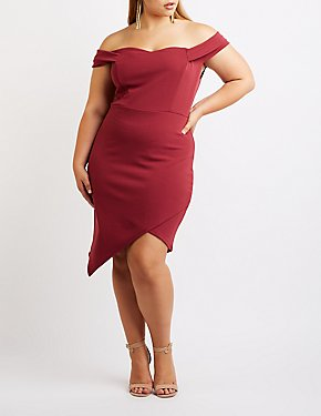 Plus Size Off The Shoulder Asymmetrical Dress