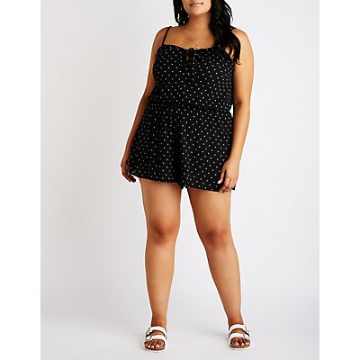 Plus Size Printed Tie Front Romper