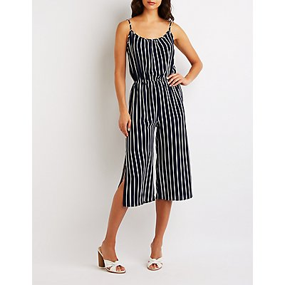 Striped Culotte Jumpsuit by Charlotte Russe