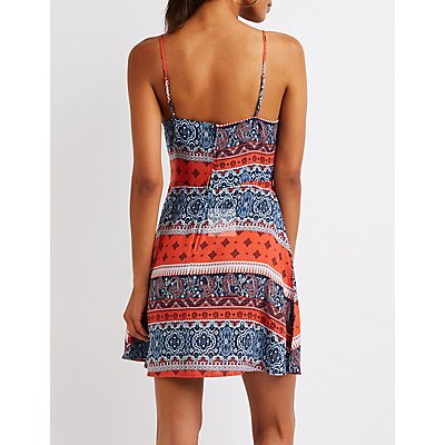 Printed Lace Up Skater Dress
