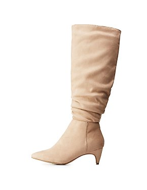 Ruched Kitten Heel Boots