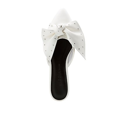 Pointed Toe Bow Mules