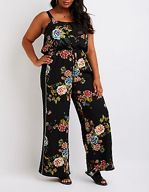 Plus Size Floral Wide Leg Jumpsuit