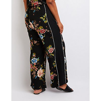 Plus Size Floral Wide Leg Jumpsuit