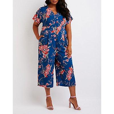 Plus Size Floral Kimono Crop Jumpsuit