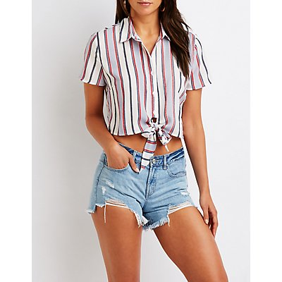 Stripe Button Up Top