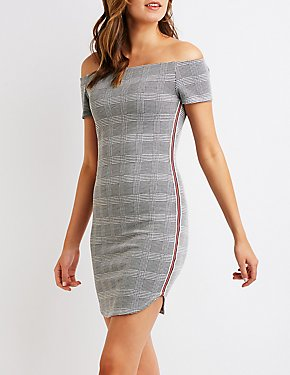Plaid Off The Shoulder Bodycon Dress