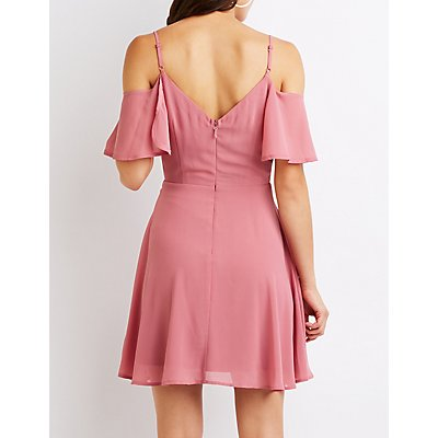 Cold Shoulder Surplice Skater Dress