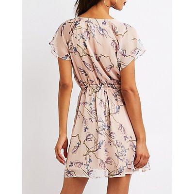 Floral Flutter Sleeve Skater Dress