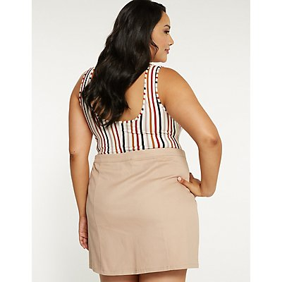 Plus Size Zip Up Mini Skirt