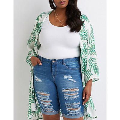 plus-size-destroyed-bermuda-shorts by charlotte-russe