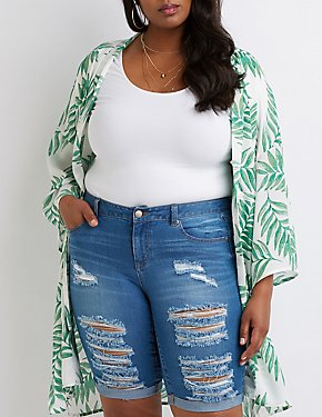 Plus Size Destroyed Bermuda Shorts