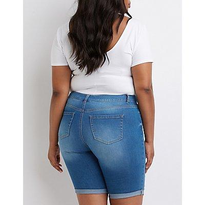 Plus Size Destroyed Bermuda Shorts