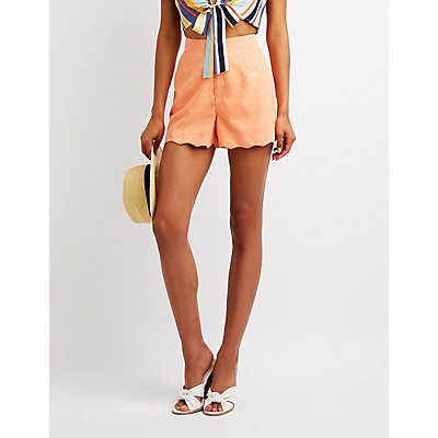 Scalloped High Waist Shorts
