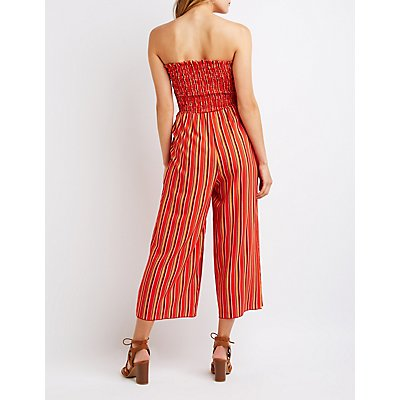 Striped Smocked Jumpsuit