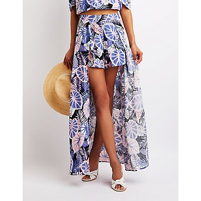 Tropical Print Short Maxi Skirt