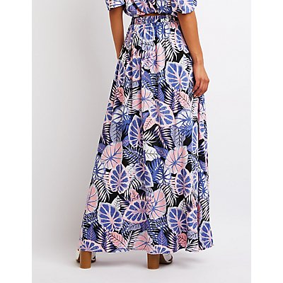 Tropical Print Short Maxi Skirt