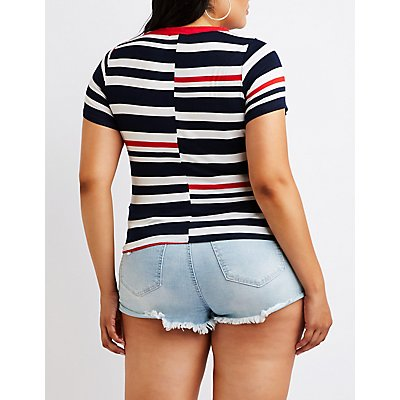 Plus Size Striped Knotted Tee