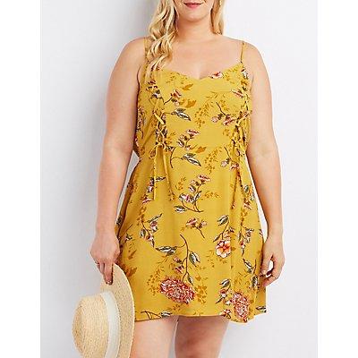 Plus Size Floral Lace Up Dress