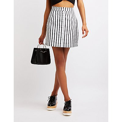 Striped Button Up Skirt
