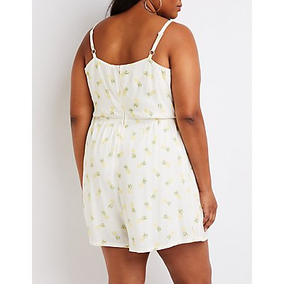 Plus Size Pineapple Tie Front Romper