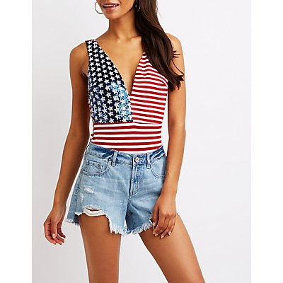Sequin Stars & Stripes Plunging Bodysuit