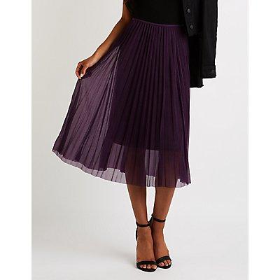 Pleated Tulle Midi Skirt