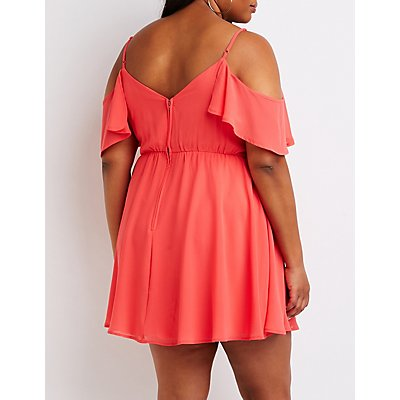 Plus Size Cold Shoulder Skater Dress