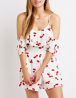 Cherry Print Cold Shoulder Romper