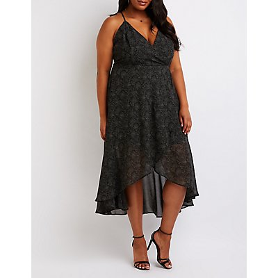 Plus Size Polk Dot Wrap Maxi Dress