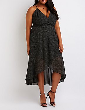 Plus Size Polk Dot Wrap Maxi Dress