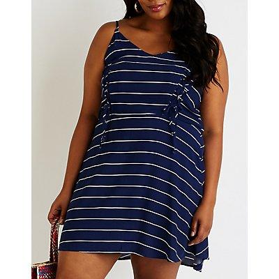 Plus Size Striped Lace Up Skater Dress