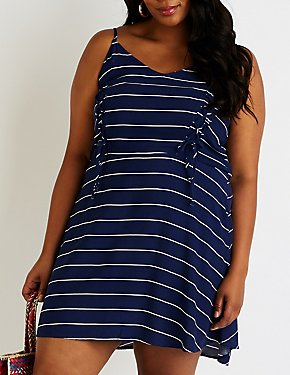 Plus Size Striped Lace Up Skater Dress