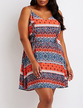 Plus Size Paisley Lace Up Dress