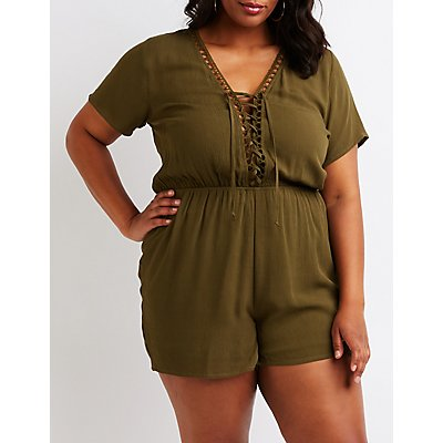 Plus Size Crochet Lace Up Romper