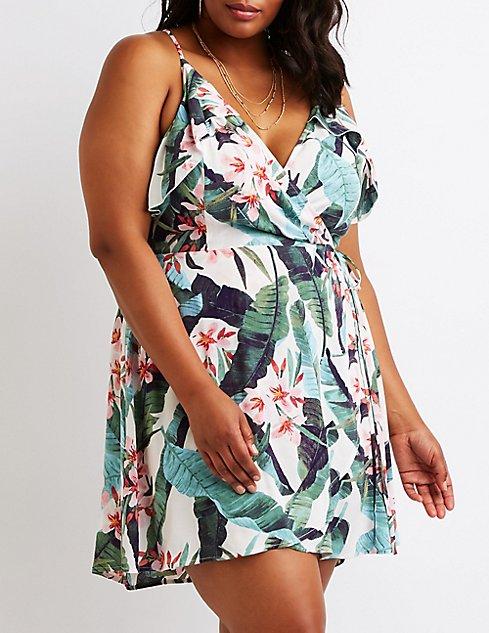Plus Size Floral Wrap Dress | Charlotte Russe