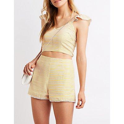 Striped Hi Waist Shorts
