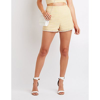 Striped Hi Waist Shorts