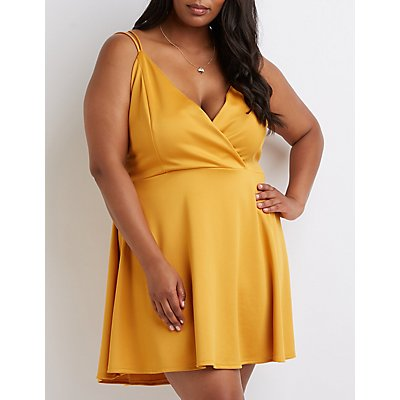 Plus Size Wrap Skater Dress