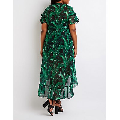 Plus Size Tropical Print Wrap Dress