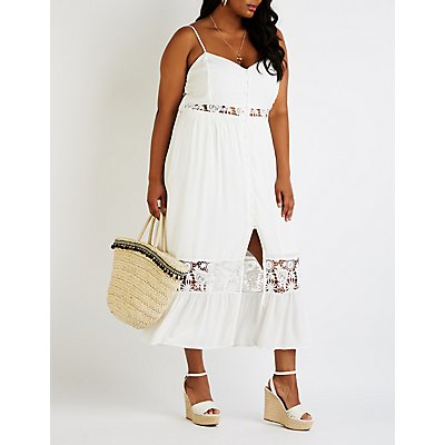 Plus Size Crochet Button Up Maxi Dress
