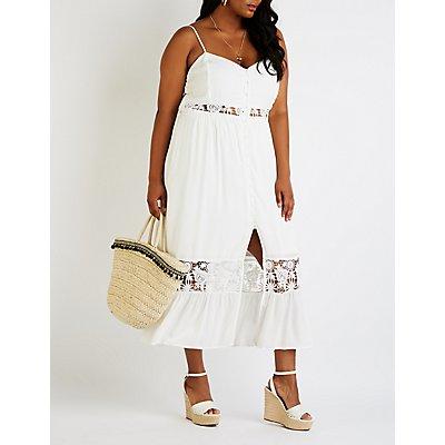 Plus Size Crochet Button Up Maxi Dress